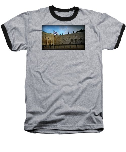 Western Wall And Israeli Flag Baseball T-Shirt by Stephen Stookey