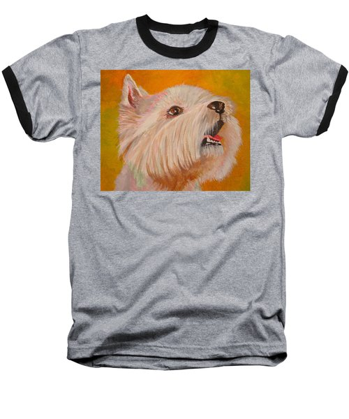 Westie Portrait Baseball T-Shirt