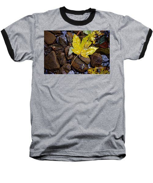Wet Autumn Leaf On Stones Baseball T-Shirt
