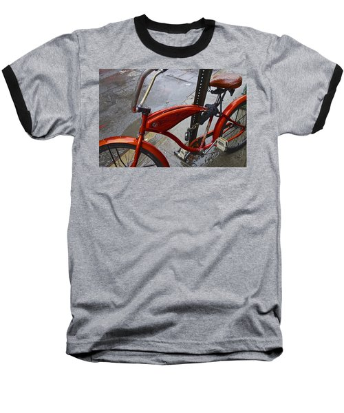 Wet Orange Bike   Nyc Baseball T-Shirt by Joan Reese