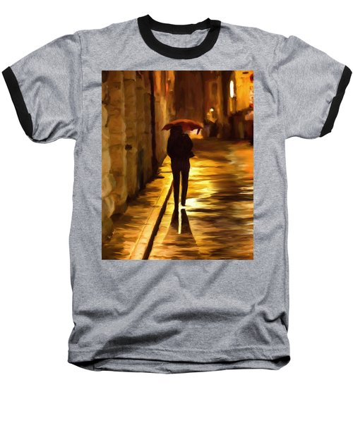 Wet Rainy Night Baseball T-Shirt