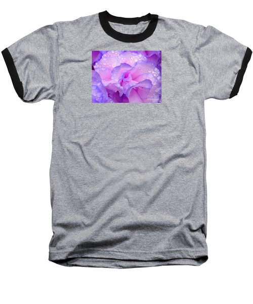 Baseball T-Shirt featuring the photograph Wet Rose In Pink And Violet by Nareeta Martin