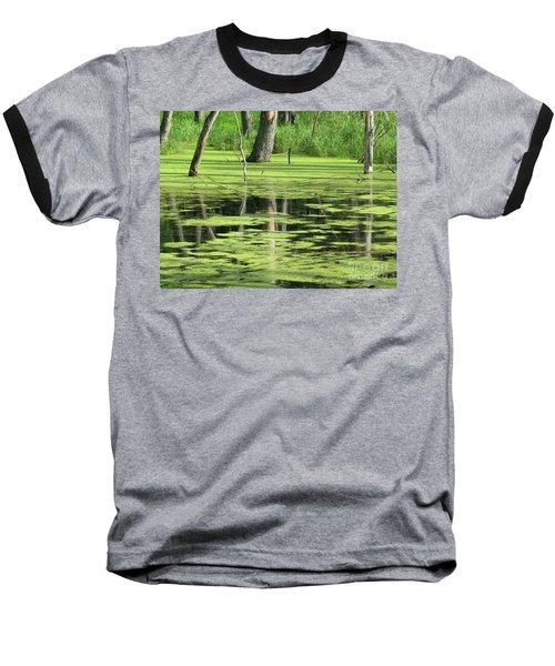 Wetland Reflection Baseball T-Shirt by Ann Horn