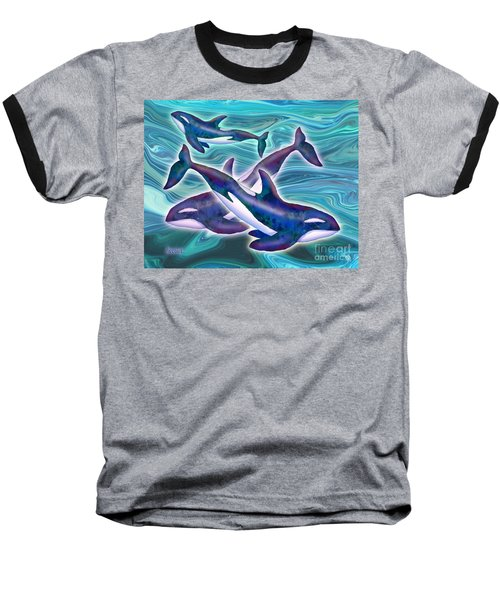 Baseball T-Shirt featuring the mixed media Whale Whimsey by Teresa Ascone