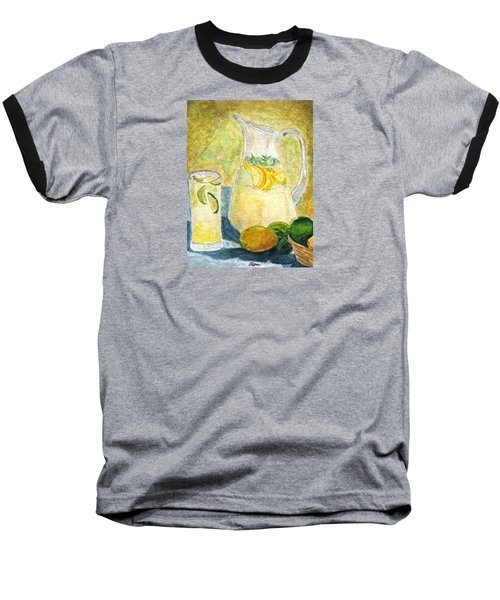 Baseball T-Shirt featuring the painting When Life Gives You Lemons by Angela Davies