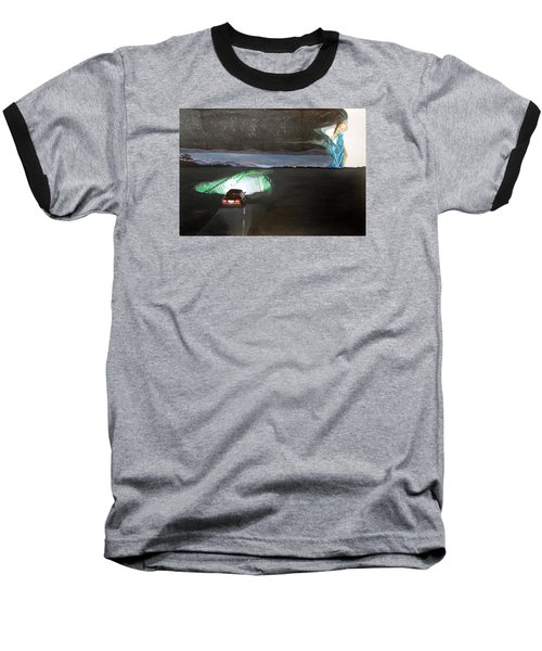 Baseball T-Shirt featuring the painting When The Night Start To Walk Listen With Music Of The Description Box by Lazaro Hurtado
