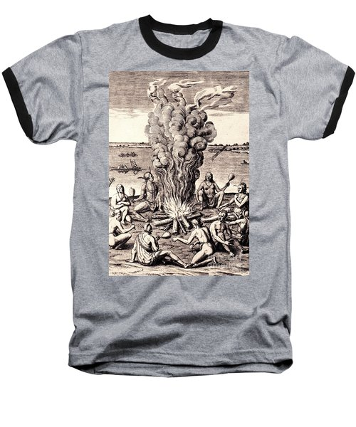 Baseball T-Shirt featuring the drawing When They Returned From The War They Make Merry About The Fire by Peter Gumaer Ogden