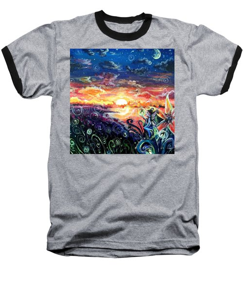 Baseball T-Shirt featuring the painting Where The Fairies Play by Shana Rowe Jackson