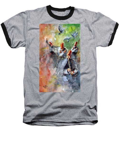Baseball T-Shirt featuring the painting Whirling Dervishes And Pigeons         by Faruk Koksal
