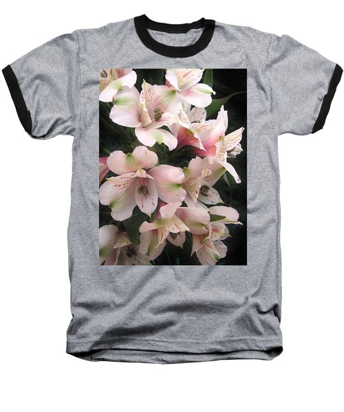Baseball T-Shirt featuring the photograph White And Pink Peruvian Lilies by Diane Alexander