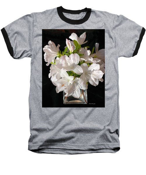 White Azalea Bouquet In Glass Vase Baseball T-Shirt by Connie Fox