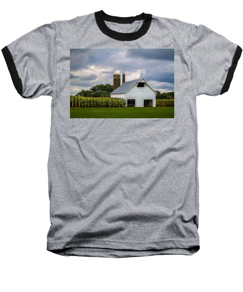 White Barn And Silo With Storm Clouds Baseball T-Shirt