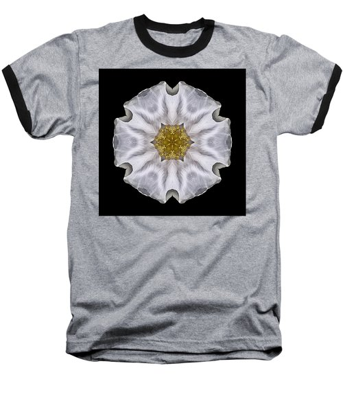 White Beach Rose I Flower Mandala Baseball T-Shirt by David J Bookbinder