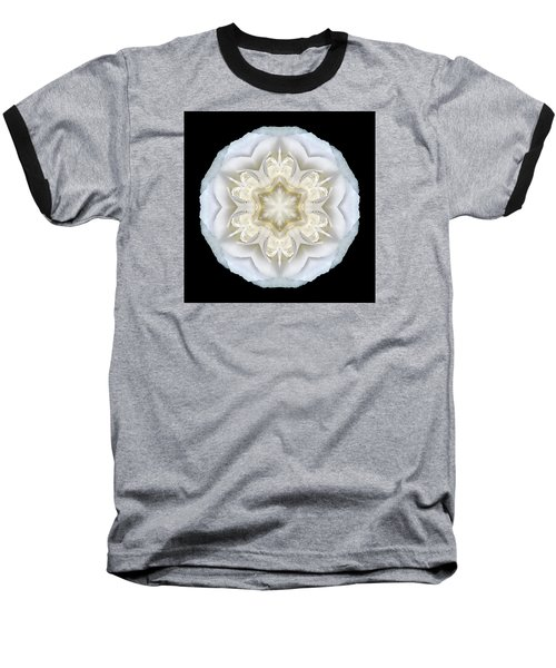 White Begonia II Flower Mandala Baseball T-Shirt by David J Bookbinder