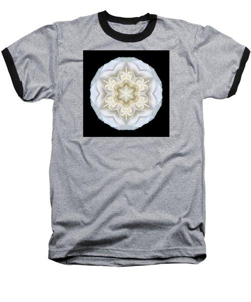 White Begonia II Flower Mandala Baseball T-Shirt
