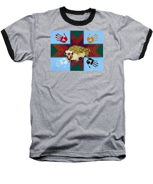 Baseball T-Shirt featuring the painting White Buffalo Calf Legend by Chholing Taha