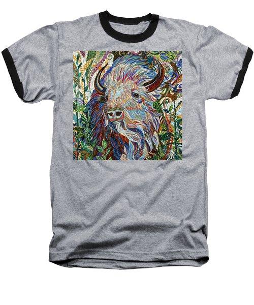 White Buffalo Baseball T-Shirt by Erika Pochybova