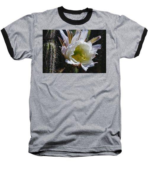 White Cactus Bloom Baseball T-Shirt