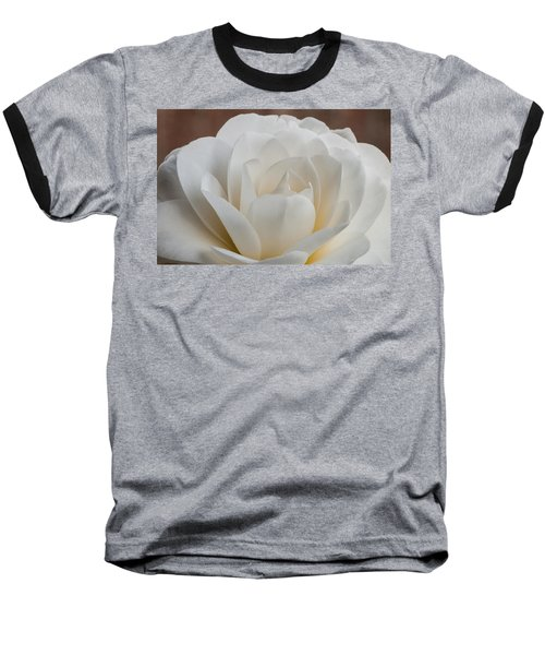 White Camellia Baseball T-Shirt