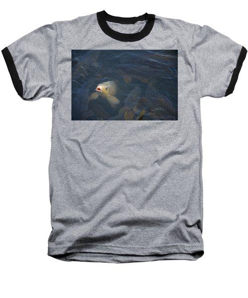 White Carp In The Lake Baseball T-Shirt by Chris Flees