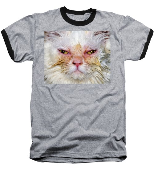Scary White Cat Baseball T-Shirt