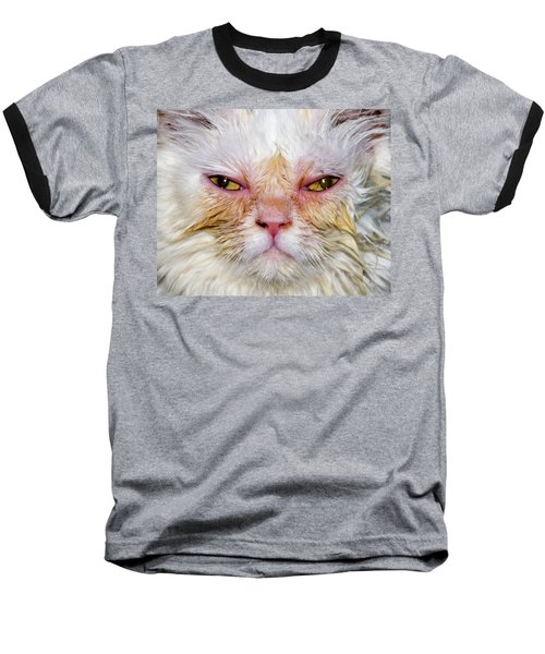 Scary White Cat Baseball T-Shirt