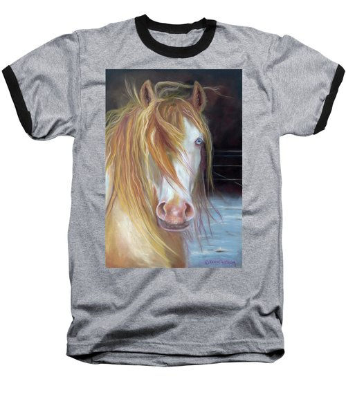 Baseball T-Shirt featuring the painting White Chocolate Stallion by Karen Kennedy Chatham