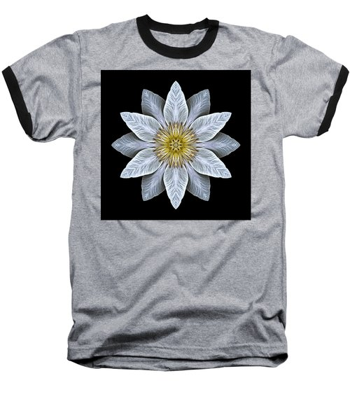 White Clematis Flower Mandala Baseball T-Shirt by David J Bookbinder