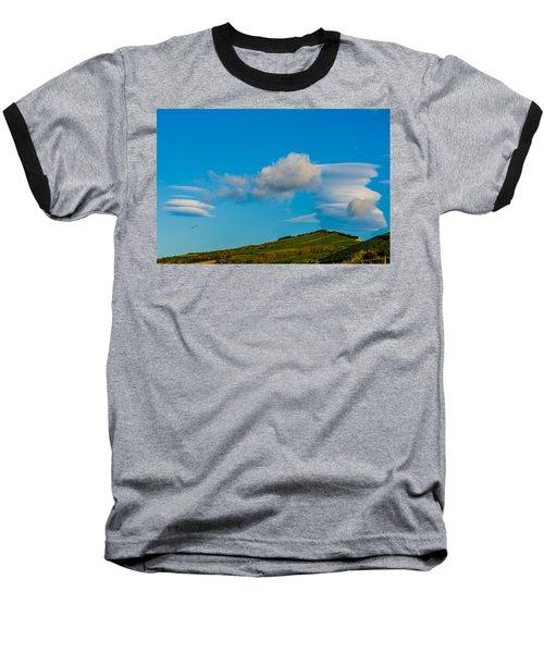 White Clouds Form Tornado Baseball T-Shirt