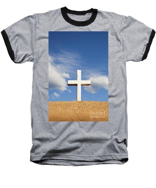 White Cross On Adobe Wall Baseball T-Shirt