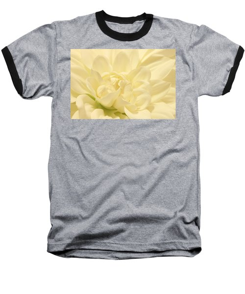 White Dahlia Dreams Baseball T-Shirt