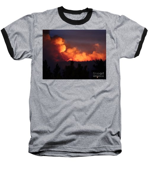 Baseball T-Shirt featuring the photograph White Draw Fire First Night by Bill Gabbert