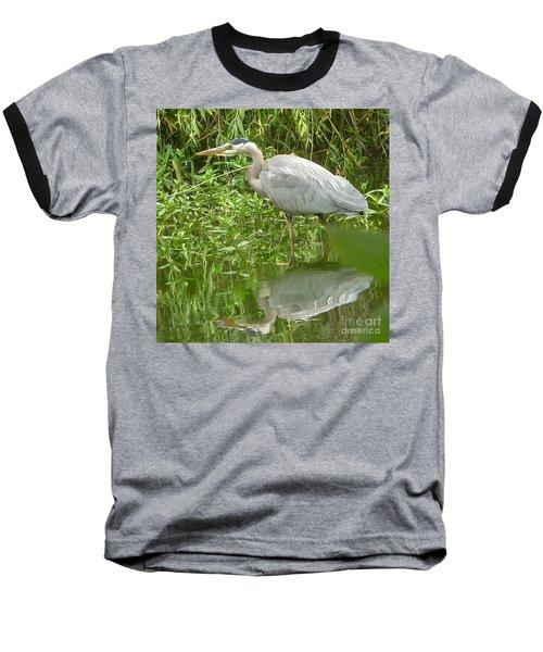White Egret Double  Baseball T-Shirt by Susan Garren