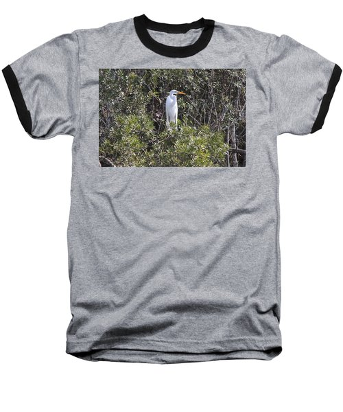 Baseball T-Shirt featuring the photograph White Egret In The Swamp by Christiane Schulze Art And Photography