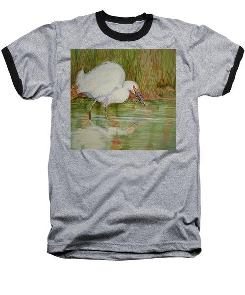 White Egret Wading  Baseball T-Shirt