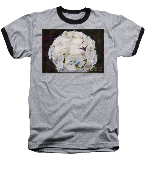White Flower And Friendly Bee Mixed Media Painting Baseball T-Shirt