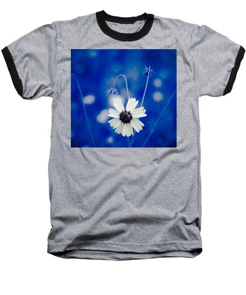 White Flower Baseball T-Shirt by Darryl Dalton