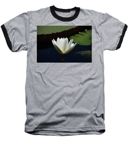 Baseball T-Shirt featuring the photograph White Flower Growing Out Of Lily Pond by Jennifer Ancker