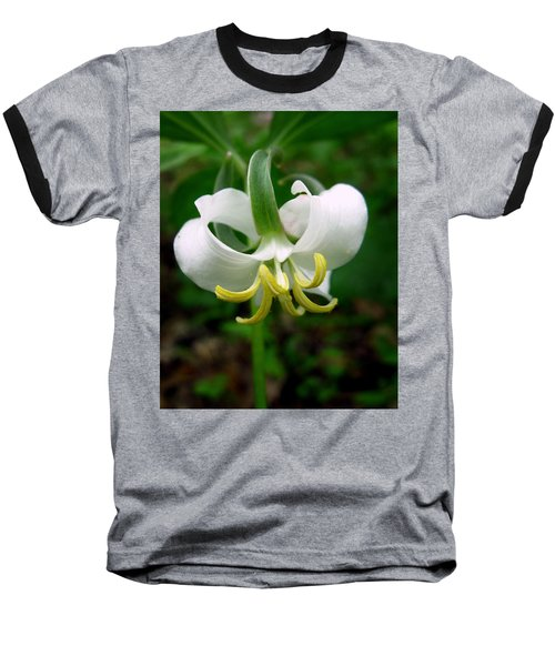White Flowering Rose Trillium Baseball T-Shirt