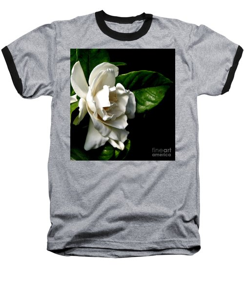 Baseball T-Shirt featuring the photograph White Gardenia by Rose Santuci-Sofranko