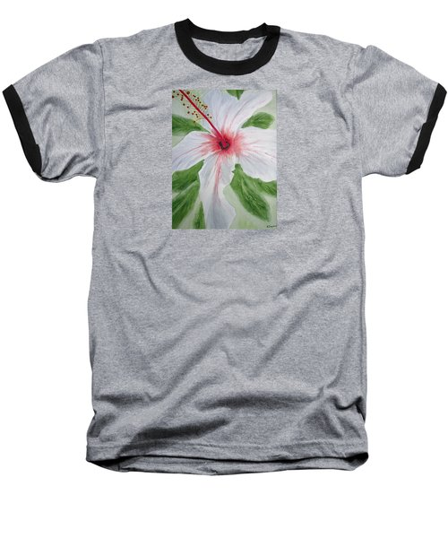 White Hibiscus Flower Baseball T-Shirt