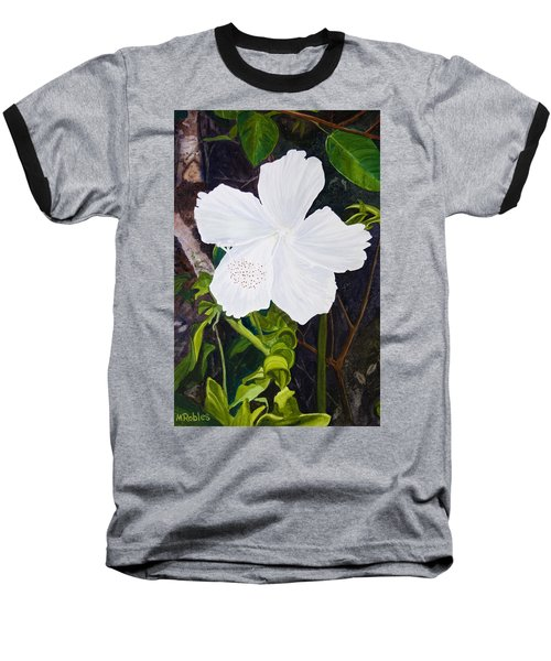 White Hibiscus Baseball T-Shirt by Mike Robles