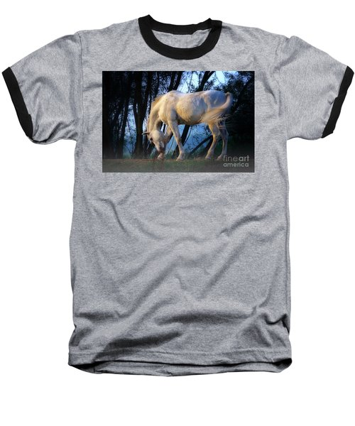 Baseball T-Shirt featuring the photograph White Horse In The Early Evening Mist by Nick  Biemans