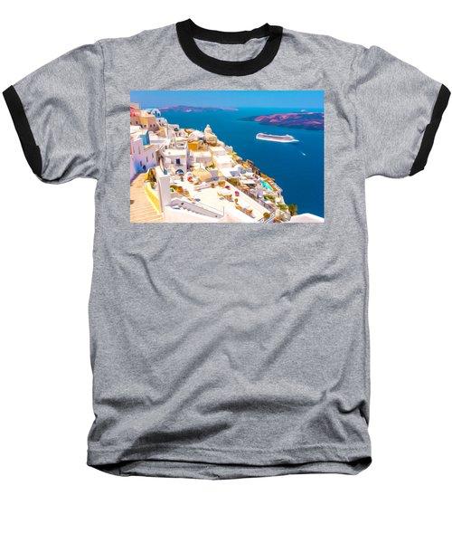 White Houses Of Santorini Baseball T-Shirt by Lanjee Chee
