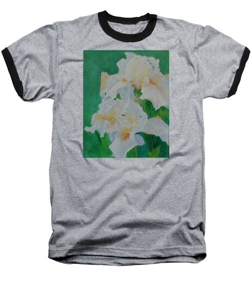 White Irises Original Oil Painting Iris Cluster Beautiful Floral Art Baseball T-Shirt