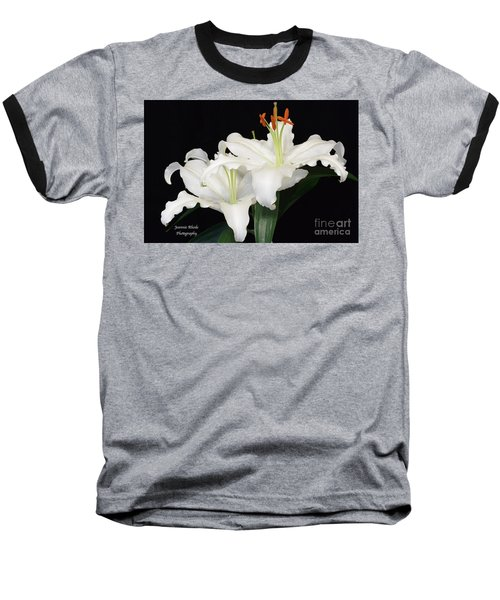 Baseball T-Shirt featuring the photograph White  Lilies by Jeannie Rhode