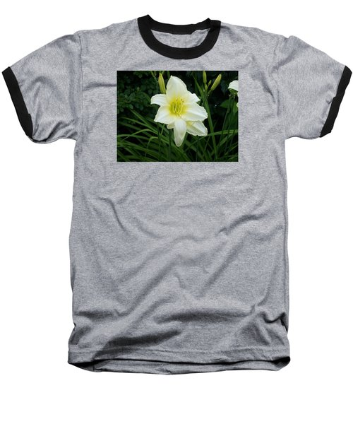 White Lily Baseball T-Shirt by Catherine Gagne