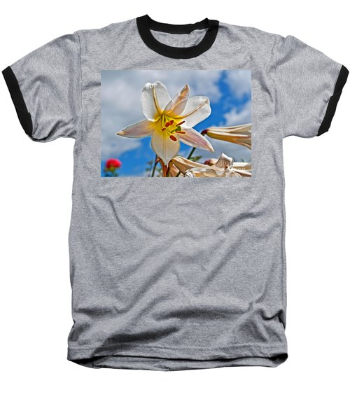 White Lily Flower Against Blue Sky Art Prints Baseball T-Shirt by Valerie Garner