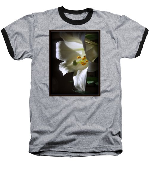 White Lily Baseball T-Shirt by Kay Novy