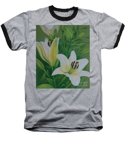 Baseball T-Shirt featuring the painting White Lily by Pamela Clements